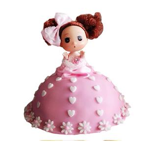 蛋糕/【翻糖蛋糕】最美的情书: 芭比娃娃翻糖蛋糕(需提前预定)  [包 装]