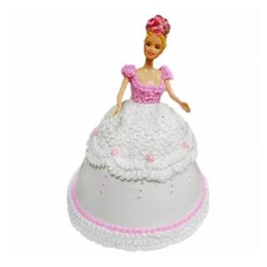 蛋糕/【芭比蛋糕】只为等你: 芭比娃娃鲜奶蛋糕  [包 装]:购买蛋糕附送