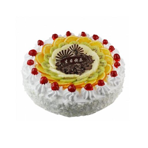 蛋糕/雪上诱惑: 圆形鲜奶蛋糕,中间各色时令水果装饰及巧克力,周