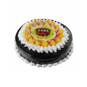 蛋糕/甜蜜果盘: 圆形鲜奶巧克力蛋糕,中间各色时令水果装饰,巧克