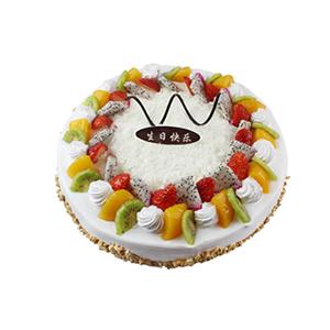 蛋糕/甜蜜味蕾: 圆形鲜奶蛋糕,中间各色时令水果装饰及巧克力,外