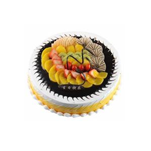 蛋糕/璀璨的未来: 圆形鲜奶蛋糕,中间各色时令水果装饰及巧克力。