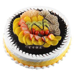 蛋糕/璀璨的未来:鲜奶鸡蛋胚+时令水果铺面+巧克力片 祝 愿:真诚祝