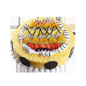 蛋糕/浪漫的童话:新鲜时令水果铺面+巧克力片装饰 祝 愿:无论走过几