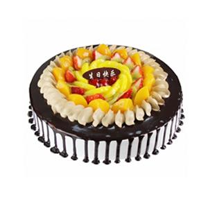 蛋糕/甜蜜团圆: 圆形鲜奶巧克力蛋糕,中间各色时令水果装饰,巧克