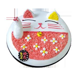蛋糕/招财猫:鲜奶鸡蛋胚+新鲜奶油时尚造型 祝 愿:恭喜你发财。