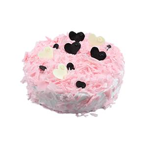 蛋糕/粉色甜心: 圆形欧式蛋糕,巧克力屑铺面,巧克力片艺术装饰。