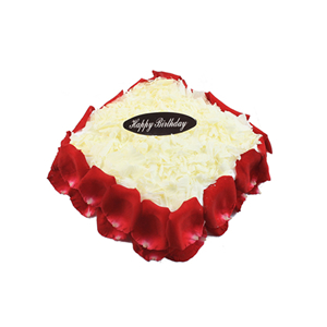 蛋糕/花漾: 方形欧式蛋糕,巧克力碎屑铺面,新鲜玫瑰花瓣围边