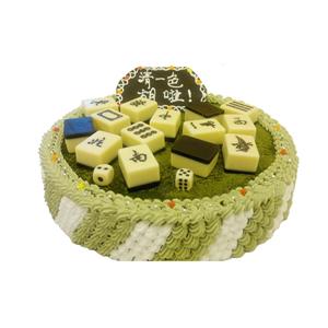 蛋糕/【麻将蛋糕】清一色: 圆形抹茶蛋糕,巧克力麻将艺术装饰。  [包