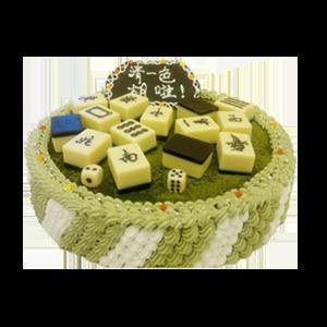 蛋糕/【麻将蛋糕】清一色:鲜奶鸡蛋胚+抹茶粉+巧克力麻将块 祝 愿:好运连连