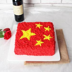 蛋糕/红旗颂: 国旗蛋糕,新鲜奶油,鸡蛋牛奶戚风胚  [包