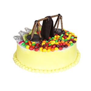 蛋糕/天秤座专属蛋糕: 匠心设计,巧克力天秤造型,时令水果,糖果豆铺面