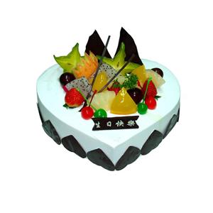 蛋糕/一见倾心: 心形慕斯蛋糕,时令水果装饰  [包 装]:购