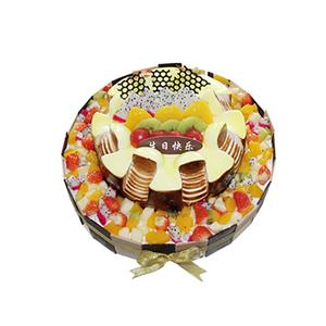 蛋糕/心语星愿: 圆形双层鲜奶水果蛋糕,上层时令水果铺面,巧克力