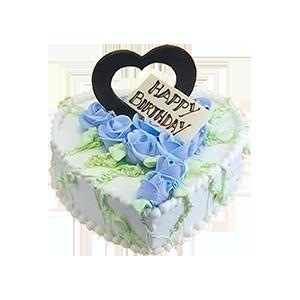 蛋糕/蓝色爱恋: 鲜奶蛋糕,奶油玫瑰花点缀蛋糕中间  [包 装