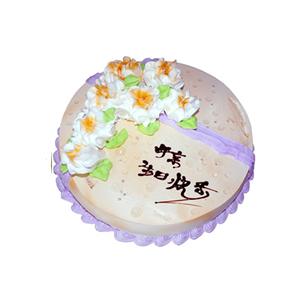 """蛋糕/寿与天齐: 圆形鲜奶蛋糕,鲜奶玫瑰花装饰,写有""""母亲生日快"""