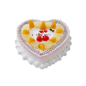 蛋糕/深深爱恋: 心形鲜奶水果蛋糕,时令水果装饰  [包 装]