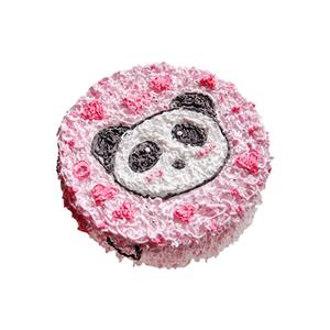 蛋糕/阳光宝贝: 圆形鲜奶蛋糕,卡通熊猫头做面。  [包 装]