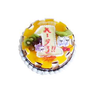 蛋糕/我一岁了: 圆形卡通鲜奶蛋糕,黄色果酱,卡通小熊、时令水果