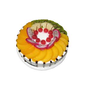 蛋糕/满园春色: 圆形水果蛋糕,上铺一层时令水果丰满  [包