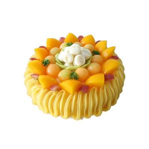 蛋糕/秋的问候 : 圆形水果蛋糕,黄色奶油流苏,时令水果铺满