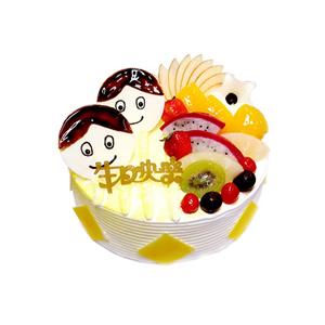 蛋糕/烂漫童年: 圆形鲜奶水果蛋糕,时令水果装饰,巧克力片围边