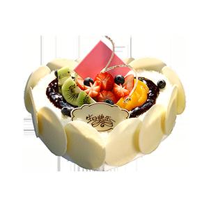 蛋糕/今生与你相伴:心形鲜奶水果蛋糕,时令水果装饰,巧克力片围边装饰