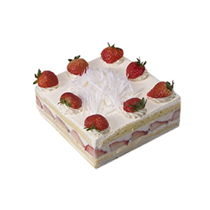 蛋糕/甜蜜滋味: 方形鲜奶水果蛋糕,时令水果装饰  [包 装]