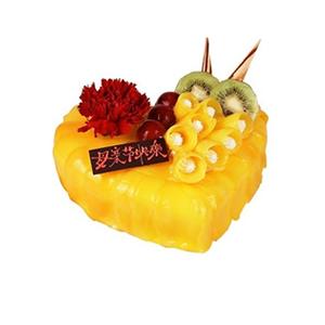蛋糕/永恒祝福: 心形水果蛋糕,时令水果装饰,黄色果酱,一朵康乃