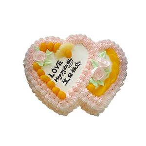 蛋糕/天涯同好: 双心鲜奶水果蛋糕,时令水果装饰,  [包 装