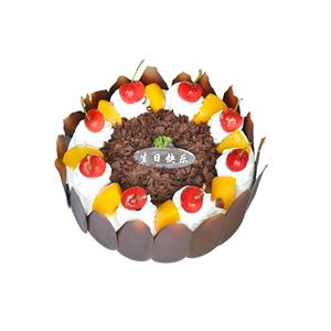 蛋糕/香蜜园: 圆形水果蛋糕,时令水果装饰,巧克力围边  [