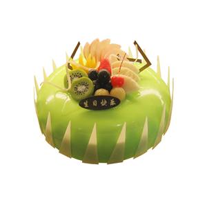 蛋糕/绿色情怀: 圆形水果蛋糕,绿色果浆,时令水果,巧克力插片。