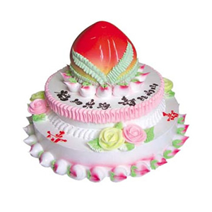 蛋糕/寿比松龄: 三层鲜奶蛋糕,上层做成蟠桃。  [包 装]: