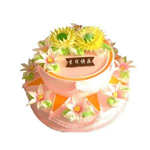 蛋糕/福寿康宁: 二层鲜奶蛋糕,奶油花点缀。  [包 装]:购