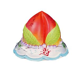 蛋糕/寿元无量: 二层鲜奶蛋糕,最上层做成蟠桃,小蟠桃围绕,正前