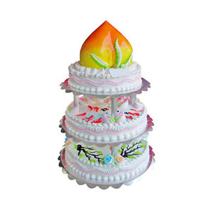 蛋糕/福寿延年: 四层圆形鲜奶蛋糕,最上层做成蟠桃  [包 装