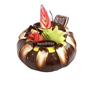 蛋糕/甜蜜攻略: 圆形水果巧克力蛋糕,时令水果,巧克力拉丝