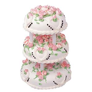蛋糕/快乐年华: 三层圆形鲜奶蛋糕,粉色鲜奶玫瑰花  [包 装