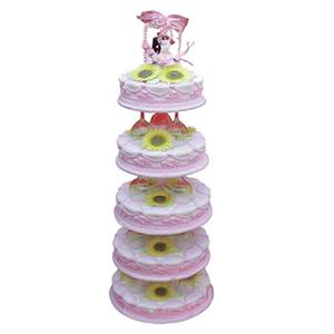 蛋糕/粉色天空: 五层鲜奶蛋糕,太阳花装饰  [包 装]:购买