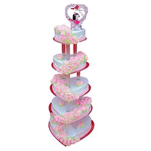 蛋糕/爱的殿堂: 五层心形鲜奶蛋糕,粉色鲜奶玫瑰花装饰  [包