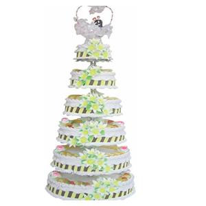 蛋糕/永世之约: 六层鲜奶水果蛋糕,鲜奶百合花装饰,时令水果。