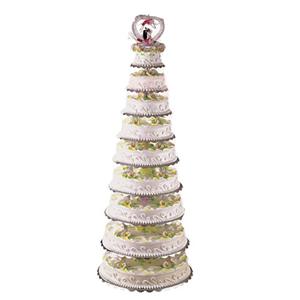 蛋糕/花开并蒂: 九层圆形鲜奶蛋糕,鲜花并蒂莲。  [包 装]