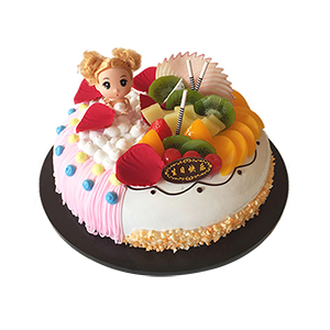 蛋糕/甜心芭比:新鲜奶油搭配时令水果 包 装:高档礼盒包装,赠送精