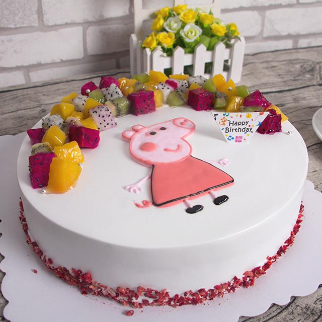蛋糕/小猪佩奇: 新鲜奶油搭配时令水果  [包 装]:高档礼盒