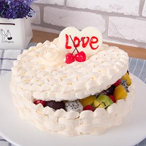 蛋糕/爱情果篮: 新鲜水果、优质奶油、鸡蛋牛奶蛋糕胚  [包
