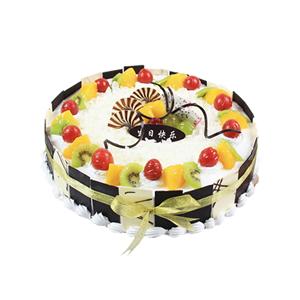 蛋糕/最美的偶遇: 圆形鲜奶水果蛋糕,时令水果铺面,巧克力片艺术装