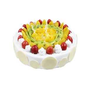 蛋糕/为你盛开: 圆形鲜奶水果蛋糕,各色水果丰满铺面,白色巧克力