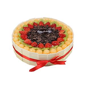 蛋糕/环绕的幸福: 圆形欧式水果蛋糕,各色时令水果艺术装饰,纯手工