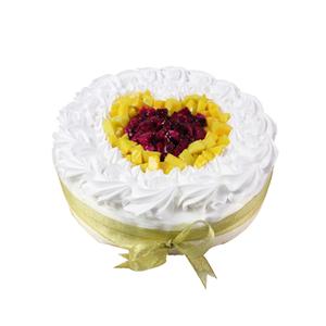 蛋糕/心愿: 圆形欧式水果蛋糕,芒果、火龙果心形艺术装饰,新