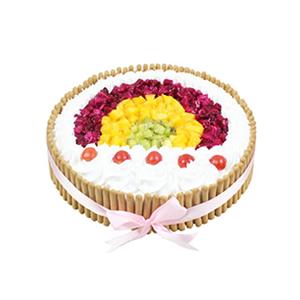 蛋糕/爱的彩虹: 圆形水果蛋糕,水果装饰,拇指饼干围边  [包